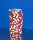 Stack of casino poker chips Royalty Free Stock Images
