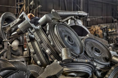 Stack of cast metal parts Royalty Free Stock Photos
