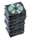 Stack CD in box isolated. Royalty Free Stock Photos