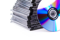Stack of CD-boxes with CD Stock Photo