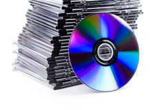 Stack of CD-boxes with CD Stock Image