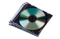 Stack of CD discs in box isolated. Stock Images