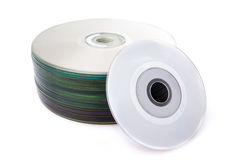 Stack of Cd or DVD  on white background Stock Photo