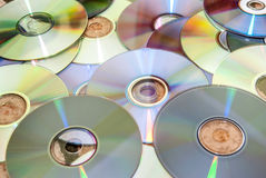 Stack of cd and of purple dvd collection Royalty Free Stock Image