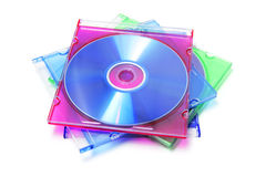 Stack of CDs in Plastic Cases. On White Background royalty free stock photos