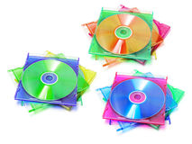 Stack of CDs in Plastic Cases Stock Photos