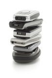 Stack of cellphones Stock Photo