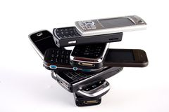Stack of cellphones Royalty Free Stock Image