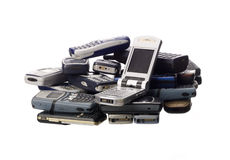 Stack of cellphones. Towards white background Royalty Free Stock Photos