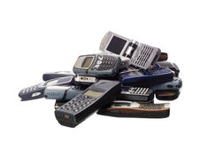 Stack of cellphones. Towards white background Royalty Free Stock Photo