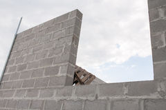 Stack of cement blocks at the construction site.  Stock Photos