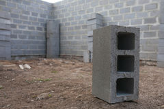 Stack of cement blocks at the construction site.  Royalty Free Stock Photography