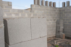 Stack of cement blocks at the construction site.  Royalty Free Stock Images