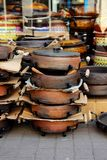 Stack of ceramic pans Royalty Free Stock Photos