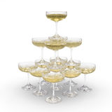 Stack of champagne glasses with clipping path Stock Photography