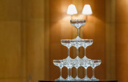 Stack of champagne glasses Royalty Free Stock Images