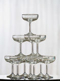 Stack of champagne glasses Royalty Free Stock Photo