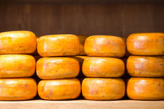 Stack of cheese in a shop at Amsterdam, Netherlands Stock Image