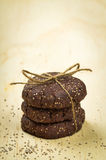 Stack of chia seed chocolate cookies Stock Photography