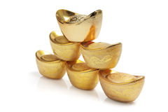 Stack of Chinese Gold Ingots Royalty Free Stock Photography