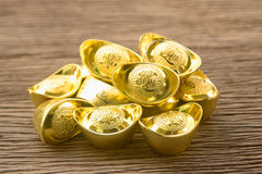 Stack of chinese gold ingots Stock Image