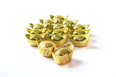 Stack of Chinese Gold Ingots Royalty Free Stock Images