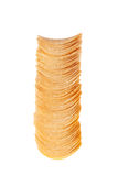 Stack of chips. A stack of chips. Photographed on a white background, vertical Royalty Free Stock Images