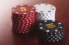 Stack of chips. Stack of casino chips Royalty Free Stock Images
