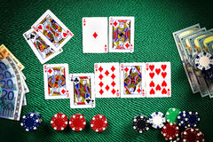 Stack of chips and cards Stock Images