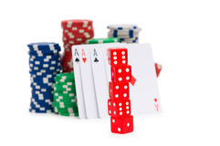 Stack of chips and dice isolated Stock Photos