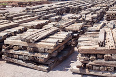 Stack of chock wood for train, construction site Stock Image