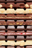 Stack of chocolate. Different sorts of chocolate in a stack stock photo