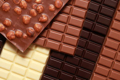 Stack of chocolate. Different sorts of chocolate in a stack royalty free stock images