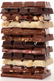 Stack of chocolate. Different sorts of chocolate in a stack royalty free stock image