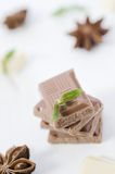 Stack of chocolate bar pieces with mint on  white. Stack of chocolate bar pieces with mint on  top against white wood background. Selective focus Stock Photography