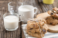 Stack of Chocolate chip cookie and glass of milk Royalty Free Stock Photo