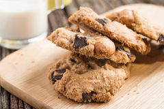 Stack of Chocolate chip cookie and glass of milk Stock Photography
