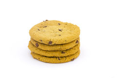 Stack of chocolate chip cookies. On a white background Stock Images