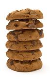 Stack of Chocolate Chip Cookies. Stacked chocolate chip cookies isolated on white Stock Photos