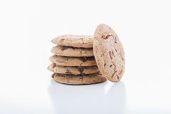 Stack of chocolate chip cookies. Isolated on a white background Royalty Free Stock Image