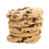 Stack of chocolate chip cookies isolated on white background Stock Photos
