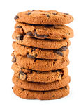 Stack of chocolate chip cookies isolated on white Royalty Free Stock Photos