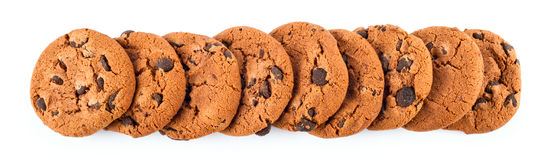 Stack of chocolate chip cookies isolated on white Stock Images