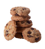 Stack of Chocolate Chip Cookies - Isolated on White Stock Photo