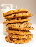 Stack of Chocolate Chip Cookies With Milk Stock Image