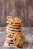Stack of Chocolate Chip Cookies With One Leaning Royalty Free Stock Image