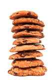 Stack of chocolate chip cookies on white. A stack of chocolate chip cookies isolated on white background Royalty Free Stock Photography