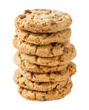 Stack of chocolate chunk crispy cookie Royalty Free Stock Photo