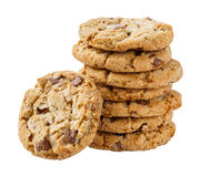 Stack of chocolate chunk crispy cookie Stock Images