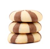 Stack of chocolate cloves biscuits. Stock Photos